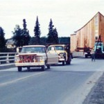 Moving SUMC in 1968  from Kasilof over Kenai river bridge